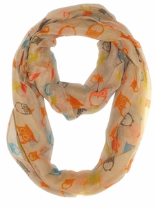Tan Colorful Lightweight Vintage Owl Print Infinity Loop Scarf