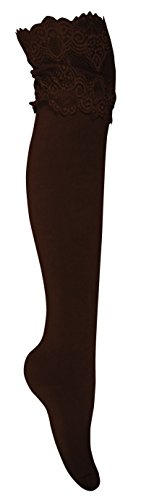 Peach Couture Stylish High Wide-Lace Jersey Knit Knee-High Cotton Boot Socks