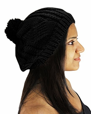Cable Knit Pom Pom Slouch Beanie Hat