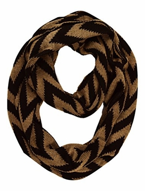 Tan Winter Warm Soft Knit Chevron ZigZag Infinity Loop Scarf