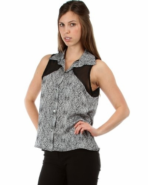 Black white Summer Chick Button Down Tribal Print Collar Sleeveless Chiffon Top