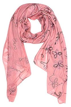 Summer Blossom Embroidered Sheer Scarf Wrap Shawl