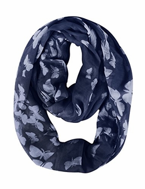 Navy White Summer Fashion Butterfly Scarf Sheer Infinity Scarf Circle Scarf Loop