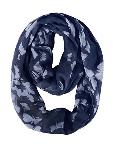 Peach Couture Summer Fashion Butterfly Scarf Sheer Infinity Scarf Circle Scarf Navy White Loop