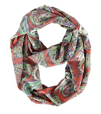 Red Paisley Bohemian Summer Infinity Scarf loops Coral