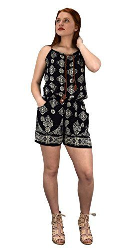 Black Summer Sleeveless Spaghetti Strap Damask Print Romper (Medium)