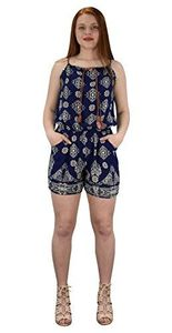 Navy  Summer Fashion Sleeveless Spaghetti Strap Floral Print Romper Medium