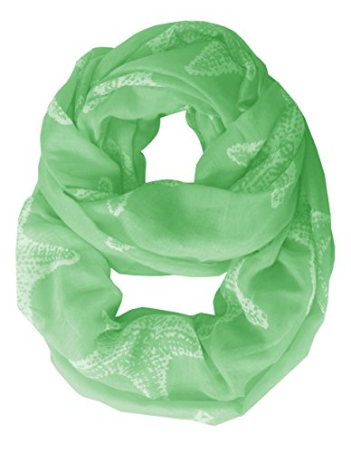Summer Starfish Design Boho Infinity Loop Scarves Green