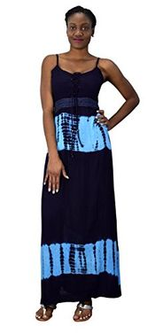 Navy Summer Womens Spaghetti Strap Tie Dye Crepe Maxi Dresses