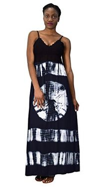 Navy Blue Summer Fashion Womens Spaghetti Strap Tie Dye Crepe Maxi Dresses