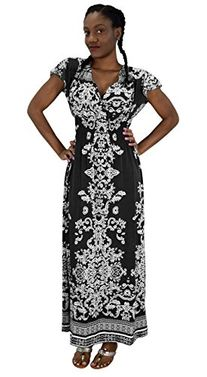 Black Summer Womens Surplice Bodice Cap Sleeves Damask Maxi Dress