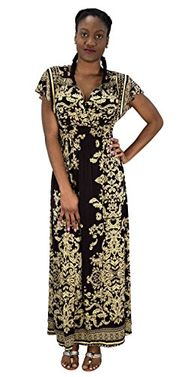 Brown Summer Womens Surplice Bodice Cap Sleeves Damask Maxi Dress