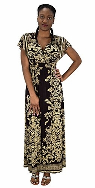 Brown Summer Womens Surplice Bodice Cap Sleeves Damask Maxi Dress Medium