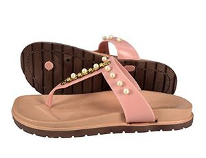 Pink Summer Pearl Studded Slip On Flats Slides Sandals 6 B(M) US