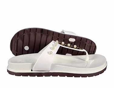 White Summer Pearl Studded Slip On Flats Slides Sandals 10 B(M) US