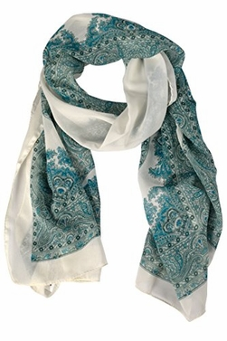 Peach Couture Summer Paisley Damask Sheer Long Scarf Teal