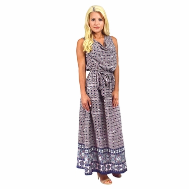Blue Moroccan Mosaic Maxi Dress