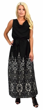 Black White Summer Maxi Dress