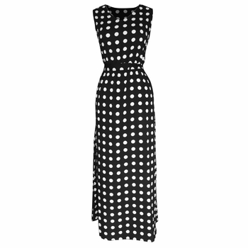 Black White Polka Dots Maxi Dress