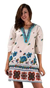 Summer Womens Boho Cotton Floral V-Neck Cover-up Beachwear Tunic Turquoise Beaded Small/Medium