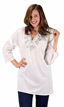 White Silver Summer Womens Boho Embroidered Cover-up Swimwear Beachwear Tunic