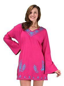 Peach Couture Summer Womens Cotton Embroidered Cover-up Swimwear Beachwear Tunic Fuchsia