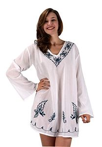 Peach Couture Summer Womens Cotton Embroidered Cover-up Swimwear Beachwear Tunic White S M