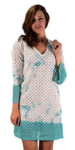 Turquoise Summer Lace Beach Bikini Cover-up Swimwear Beachwear Tunic