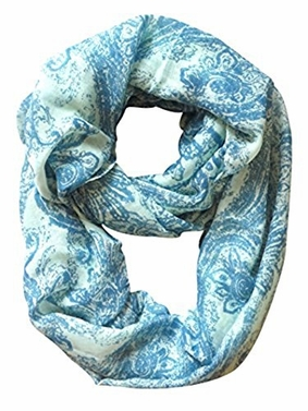 Peach Couture Sunflower Two Color Paisley Print Lightweight Infinity Loop Scarf (Blue)