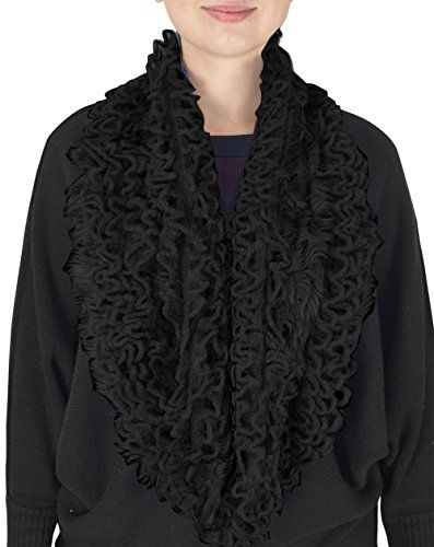 Warm Ultra Thick Plush Stretchy Ruffled Infinity Loop Scarf