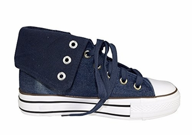 Navy Taylor Fold Over Side Zipper Canvas High Top Sneaker Shoes