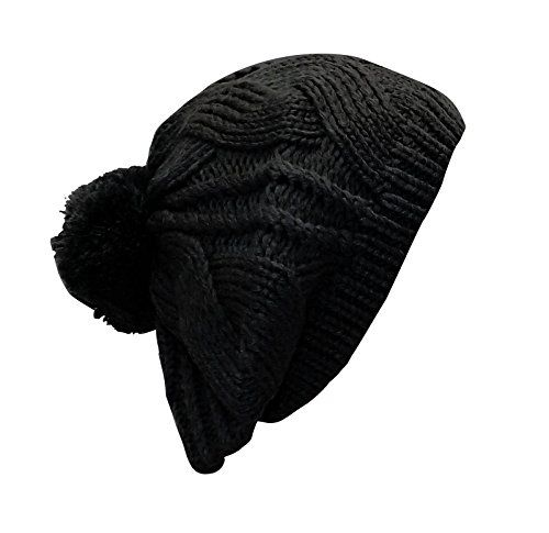 Black Thick Cable Knit Pom Pom French Beret Warm Fall Winter Hat Beanie
