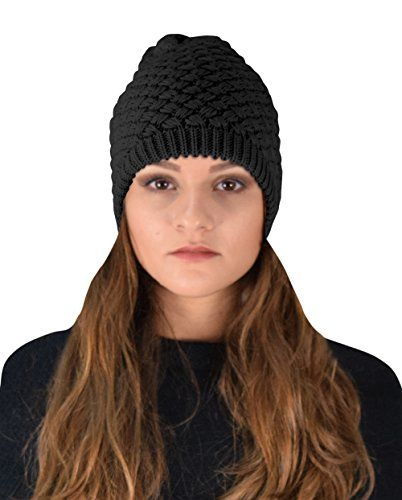 Crochet Knit Quilted Double Layer Beanie Slouchy Hat