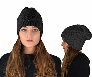 Black Crochet Knit Quilted Double Layer Beanie Slouchy Hat (2 pack)