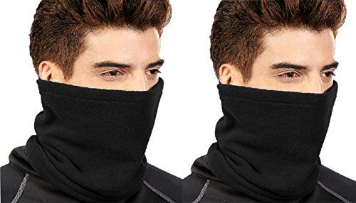 Black 2 PCS One Hole Facemask Balaclava Snowboarding Biker Mask