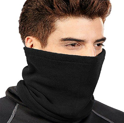 Peach Couture Thick Knit One Hole Facemask Balaclava Snowboarding Biker Mask (Black)