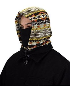 Knit One Hole Facemask Balaclava Snowboarding Biker Mask (Black/Orange)