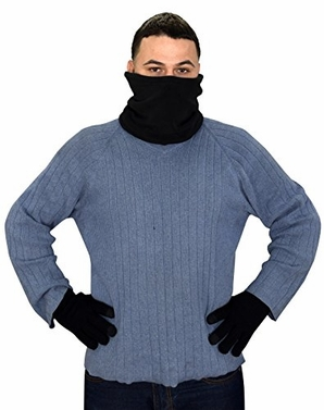 Black Set Thick Knit One Hole Facemask Balaclava Snowboarding Biker Mask