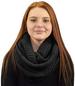 Black Thick Ribbed Chunky Knit Infinity loop Scarves Ribbed
