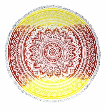 Thick Terry Material Round Yoga Mat Mandala Beach Towel Super Water Absorbent Tapestry Multi Purpose Towel Boho Gypsy Beach Fringe Tassels