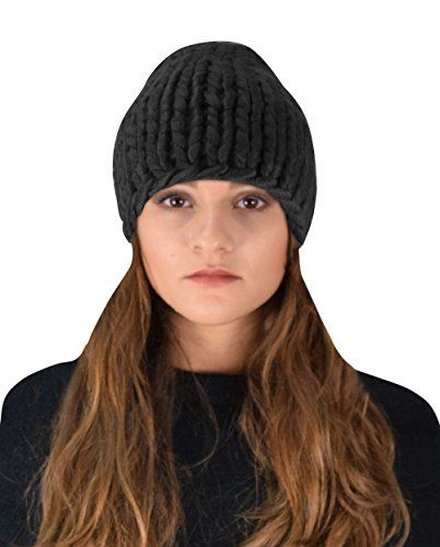 Thick Warm Soft Cable Knit Hat Beanie Slouchy Double Braid Stich