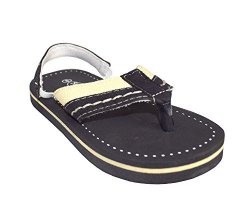 Black Toddler Boys Fun Stitched Summer Sandal with Elastic Securing Strap (5)