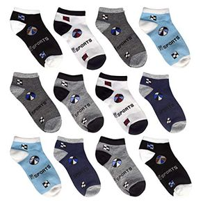 Assorted Toddler Boys Low Cut Ankle Crew Socks Pack of 12 (Assorted 02, 4-6)