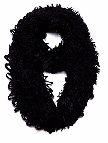 Peach Couture Trendy and Chic Plush Ruffle Infinity Loop Scarf (Ebony)