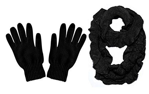 Black Trendy and Chic Ruffle Edge Thick Knitted Circle Infinity Loop Scarf (2 Pack)