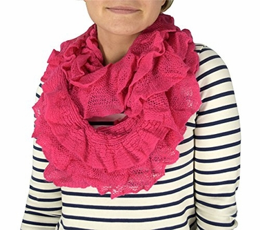 Fuchsia Trendy Chick Ruffle Edge Thick Knitted Circle Infinity Loop Scarf