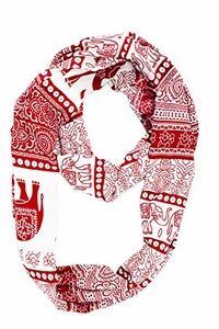 Trendy Lightweight Animal Print Artsy Elephant Wrap Scarf Shawl (Red Tribal)
