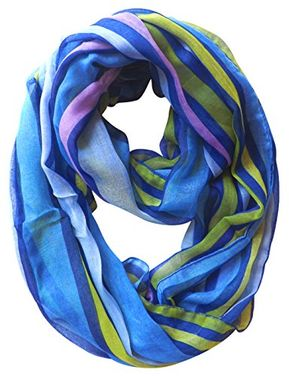 Trendy Striped Print Light and Soft Fashion Infinity Loop Scarf