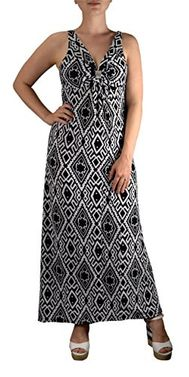 Black White Tribal Damask Print Sleeveless Beach Maxi Dress Small