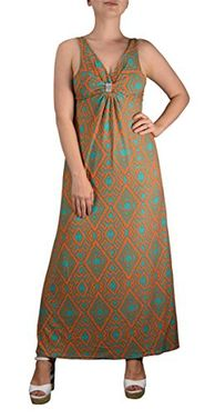 Orange Teal Tribal Damask Print Sleeveless Beach Maxi Dress Medium